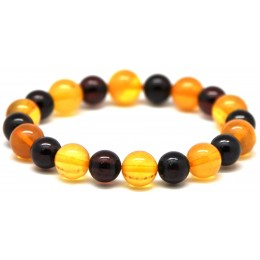 Round beads Baltic amber bracelet 10 - 11 mm.
